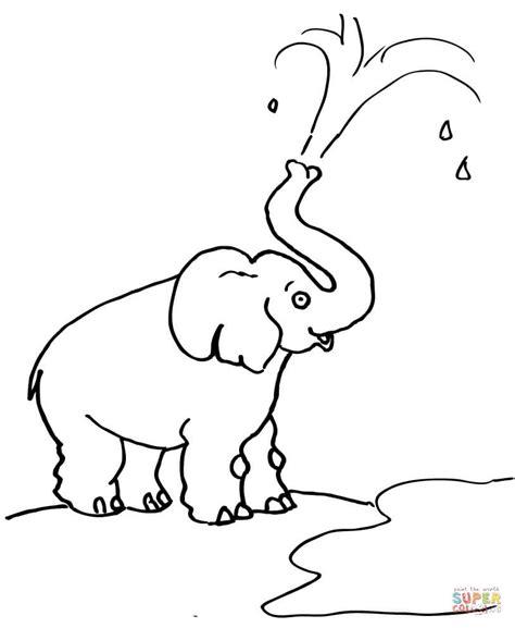 dibujo de caricatura de  elefante lanzando agua  colorear dibujos  colorear imprimir