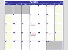 calendar 2015 printable April 2015 Calendar Printable