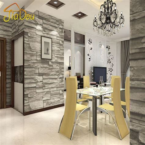 chinese style dining room wallpaper modern  stone brick