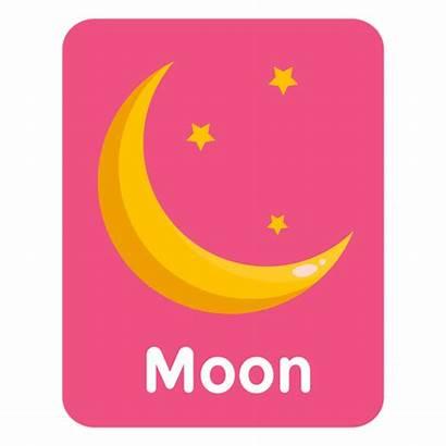 Moon Flashcard Vocabulary Transparent Svg Lunar Vocabulario