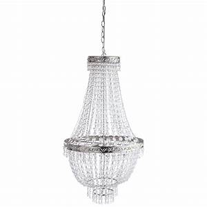 lustre a pampilles en metal chrome d 43 cm manoir With lustre maison du monde