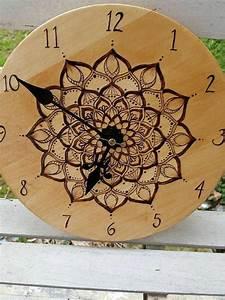 Wood, Burned, Mandala, Clock, 10, Inches