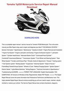 Yamaha Yp250 Motorcycle Service Repair Manual By Paulanoll