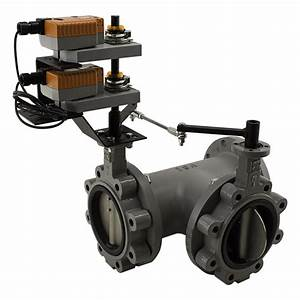 3 Way Butterfly Valve With Belimo Modulating Damper Actuator  100 Psi