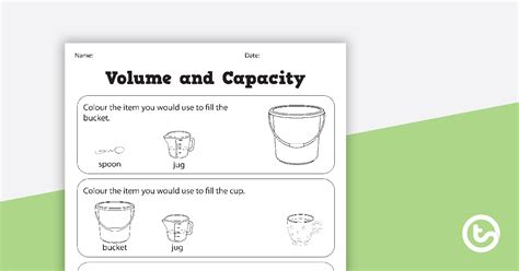 volume  capacity colouring worksheets teaching resource