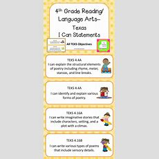 4th Grade Reading Language Arts Teks I Can Statements