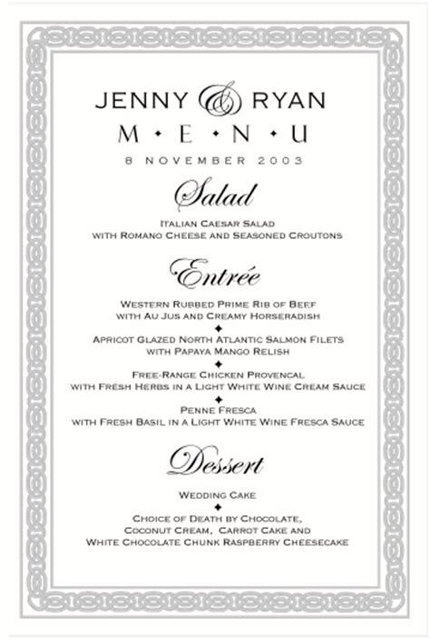 celtic wedding menu cards irish wedding products scottish