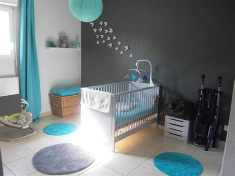 deco chambre bebe marron et bleu
