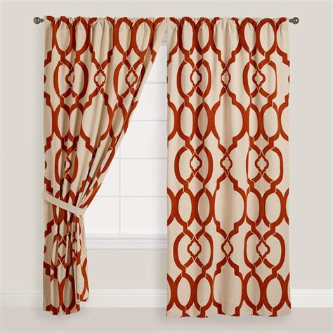 rust ethel flocked chambray tab top curtain world market