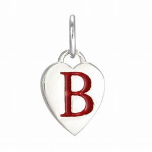 Sterling Silver Enamel Heart Alphabet Letter B Charm