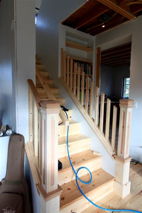 island house stairs built ins    progress  small house catalog