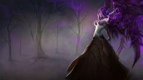 women video games wings league  legends purple hair long