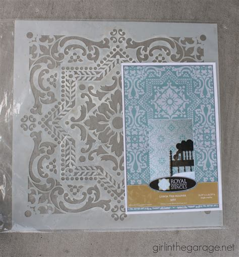 royal design studio provence stenciled table in the garage 174
