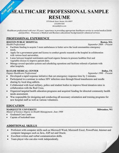 Healthcare Resume Template by Healthcare Professional Resume Free Resume