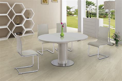 Round Cream Glass High Gloss Dining Table & 6 Chairs