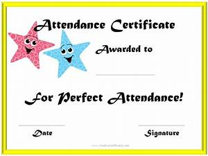 Perfect attendance award certificates for Perfect attendance certificate printable