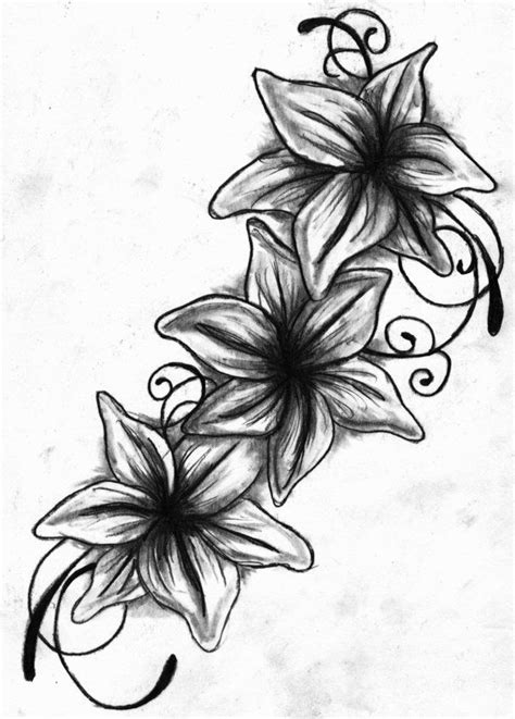 tattoo drawings lily tattoo drawing black  white