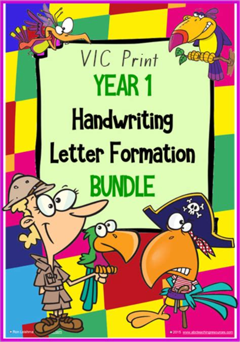 year  handwriting letter formation bundle vic print