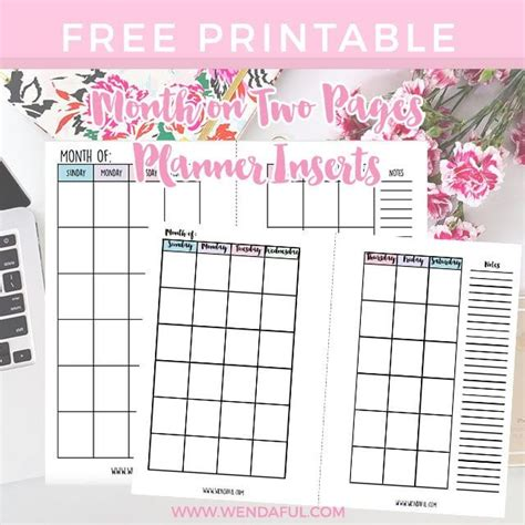 undated month   pages planner inserts wendaful