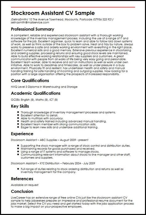 Key Qualifications Resume by Stockroom Assistant Cv Sle Myperfectcv