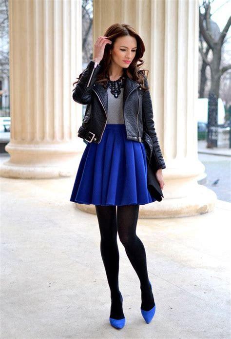 10 Ways To Rock Royal Blue Skater Skirt Black Leather