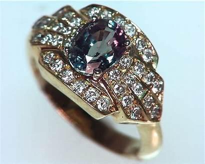 Alexandrite Genuine Natural Gemstone Gold Ring Diamonds