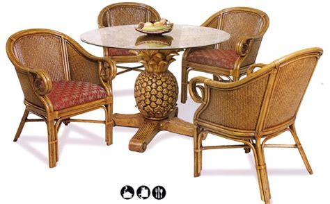 rattan kitchen furniture tropical table charleston dining set w 4 swivel tilt