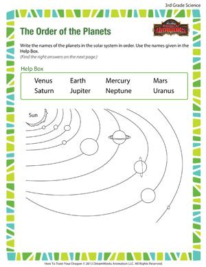 science worksheets third grade the order of the planets free science worksheet for 3rd