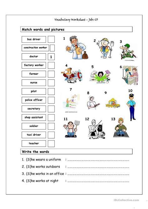 vocabulary matching worksheet jobs  englisch lernen