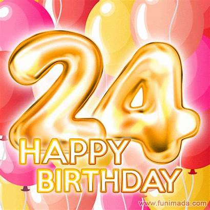 Birthday 24th Happy Gifs Card Cards Number