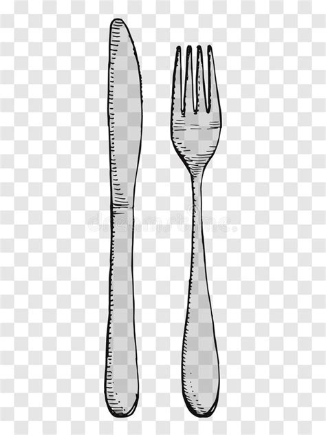 Old Fork And Knife Hand Drawing. Cutlery On A Transparent