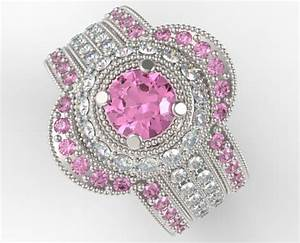 filigree pink sapphire and diamond trio wedding band set With pink sapphire wedding ring sets