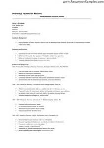 pharmacy technician resume exle sle student