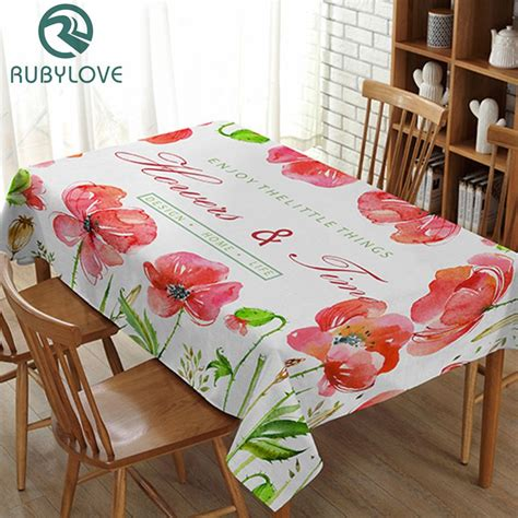 home decor pastoral style plant pattern decorative table cloth cotton linen tablecloth dining