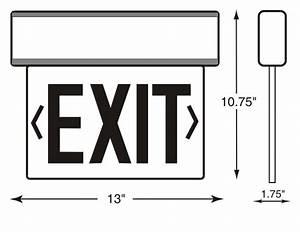 Universal Mount Edge - Lit Led Exit Sign   Sku