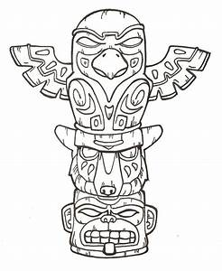 totem pole coloring page coloring home With totem pole design template