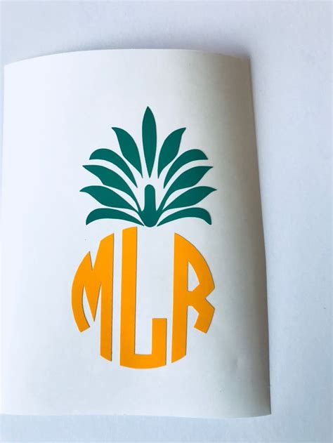 monogram pineapple decal stickers  laptop car decal hydro flask stickers vinyl