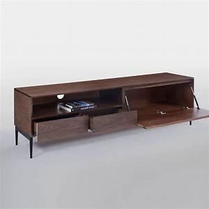 Meuble Tv 180 Cm : meuble tv design milton 180cm noyer noir ~ Teatrodelosmanantiales.com Idées de Décoration