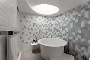 idees d39amenagement et eclairage plafond d39un apprtement With carrelage adhesif salle de bain avec luminaire cercle led