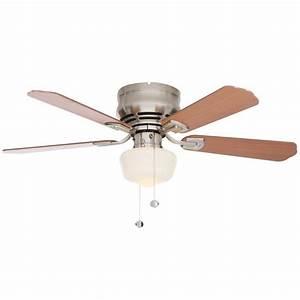 Hugger in led indoor brushed nickel ceiling fan with light