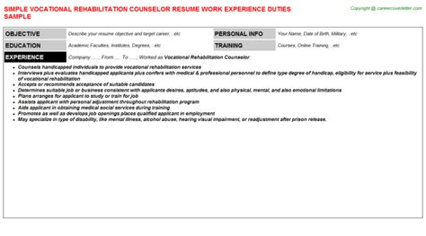 Vocational Rehabilitation Counselor Resume by Sales Rep Termination Letter Cover Letter Exles