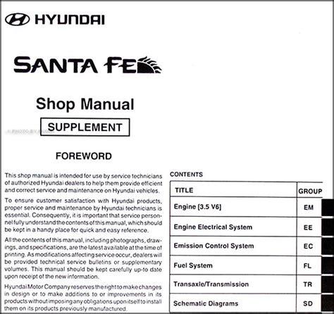 manual repair free 2002 hyundai santa fe interior lighting mid 2003 v6 2004 hyundai santa fe repair shop manual original supplement