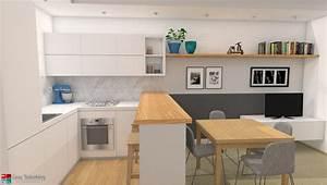 Progettazione di un soggiorno moderno con cucina a vista for Soggiorni con cucine a vista