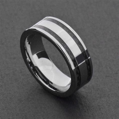 tungsten carbide ring comfort fit wedding band silver blue black cabon fiber ebay