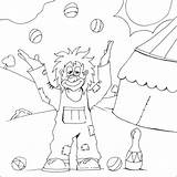 Clown Colouring Juggling Coloring Circus Happy Juggler Clowns Myfreecolouringpages sketch template