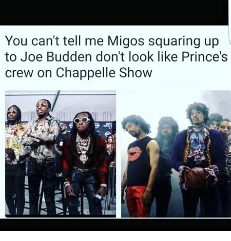 Joe Budden Memes - you can t tell me migos squaring up to joe budden don t look like prince s crew on chappelle
