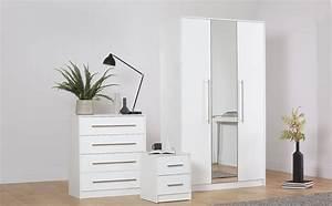 Bloomsbury, White, U0026, White, High, Gloss, 3, Piece, 3, Door, Wardrobe, Bedroom, Furniture, Set