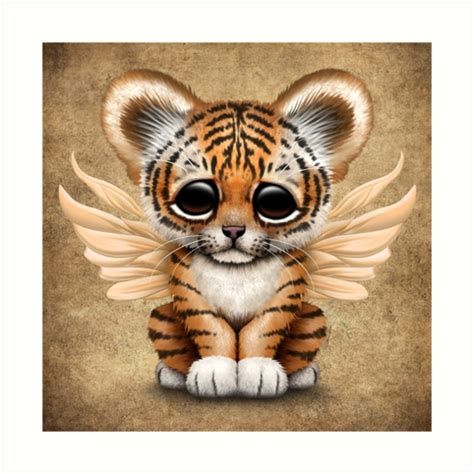 quot cute baby tiger cub with fairy wings quot art prints by jeff bartels redbubble