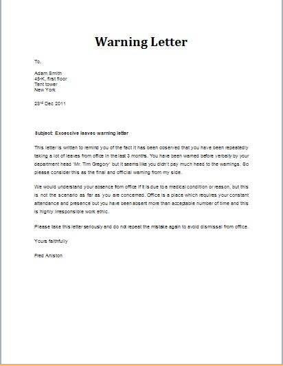 warning letter  excessive leaves template word
