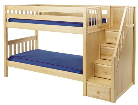 bunk bed maxtrix low bunk bed w staircase on end